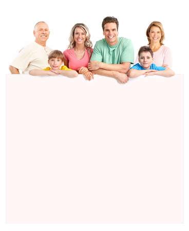 familia abrazo: Familia feliz. Aislados sobre fondo blanco Foto de archivo