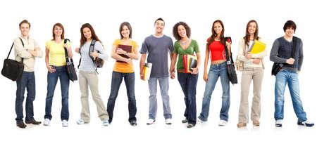 adolescentes chicas: Gran grupo de estudiantes sonrientes. Aislados sobre fondo blanco