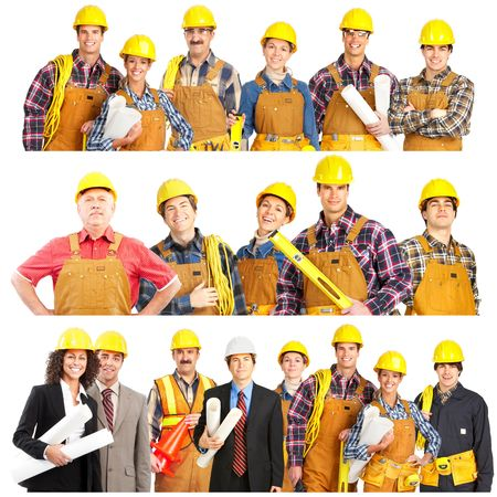 paintings: Smiling builder people. Isolated over white background