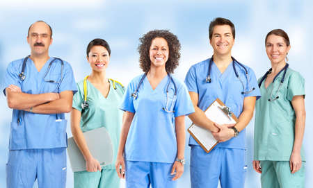 practitioner: Smiling medical people with stethoscopes. Doctors and nurses