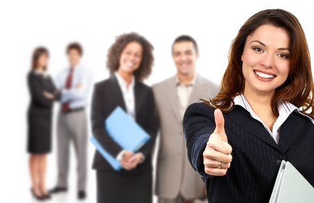 huge: Businesswoman and  group of young smiling business people