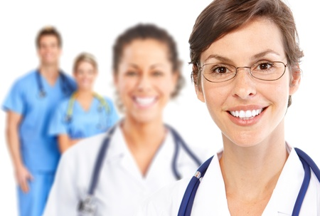 medical practitioner: Smiling doctors with stethoscopes. Isolated over white background