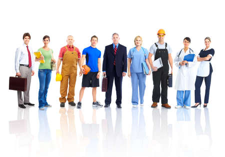 industrial worker: Large group of smiling workers people. Over white background Stock Photo