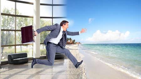 vacation: Businessman running on the beach  Summer vacation  Stock Photo