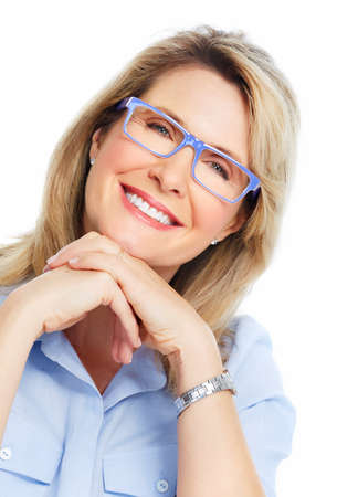 Beautiful senior woman wearing eyeglasses  Vision  Stock Photo