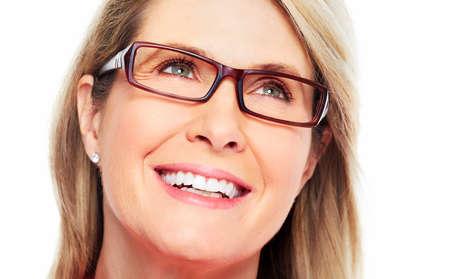 smile close up: Beautiful senior woman wearing eyeglasses  Vision  Stock Photo