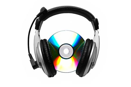 Cd-rom and headphone. Stock Photo