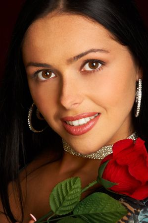 Pretty woman with rose Stock Photo - 436902