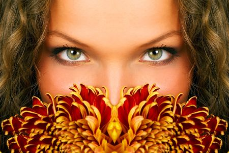mysterious woman eyes Stock Photo - 595603