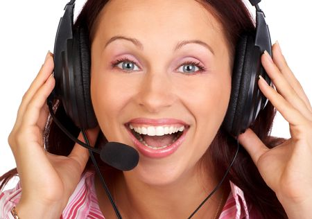Beautiful smiling woman with headset photo