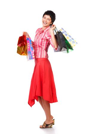 Christmas shopping pretty woman  with shopping bags. Isolated over white background Stock Photo - 595595