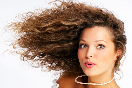 Pretty girl with great hair. Isolated over white background Stockfoto