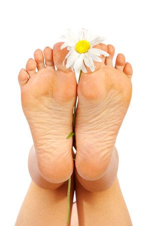 Schöne Dame Füßen. Isolierte über weißem Hintergrund