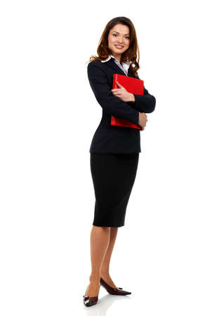 Happy successful business woman. Isolated over white background  photo