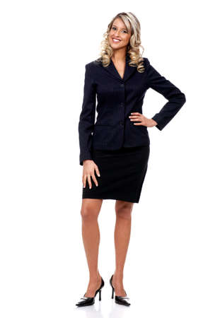 educating: Young smiling successful  business woman. Over white background Stock Photo