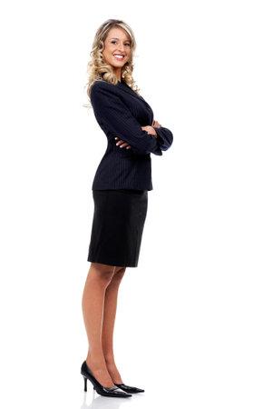 sexy secretary: Sonriente joven mujer de negocios. Aisladas m�s de fondo blanco  Foto de archivo