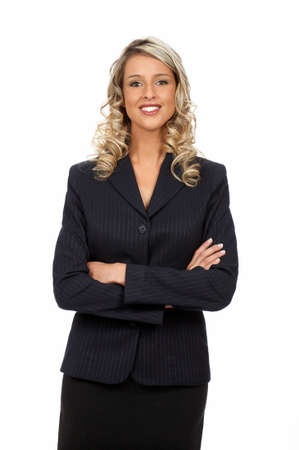 educating: Young smiling  business woman. Isolated over white background