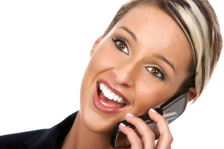 young business woman calling by cellular phone. photo