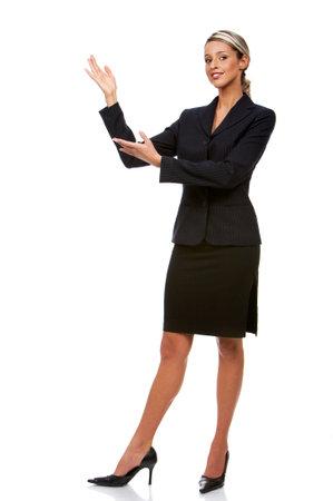 若い笑みを浮かべて女性実業家。白い背景の上の分離