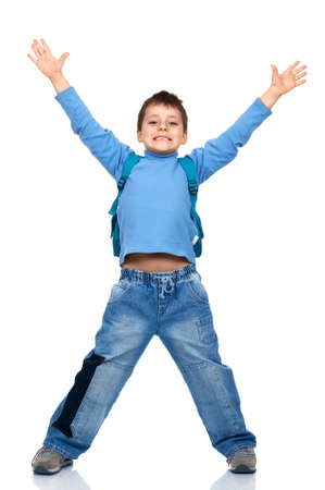 Funny jumping boy. Isolated over white backgroundr photo
