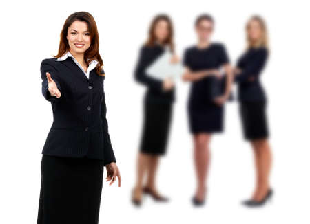 teamworking: Young smiling successful  business woman and team. Over white background