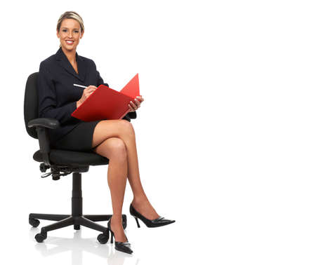 business woman legs: Young smiling  business woman. Isolated over white background