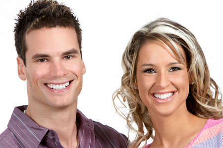 Young love couple smiling. Over white background Stock Photo - 2505753