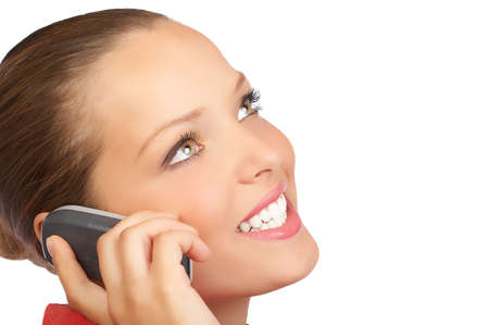 attractive young woman calling by cellular phone. Isolated over white.  photo