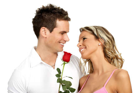 Young love couple smiling. Over white background  r photo