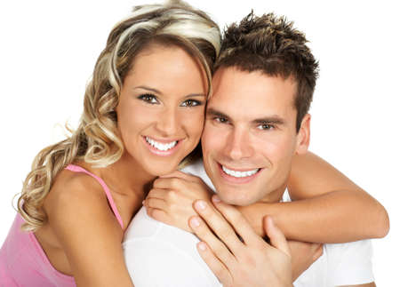 Young love couple smiling. Over white background Stock Photo - 2775206