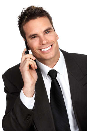 young business man calling by cellular phone.  photo