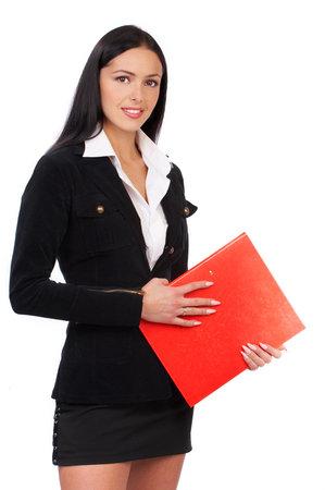 secretaria sexy: Sonriente joven mujer de negocios. Aisladas m�s de fondo blanco  Foto de archivo