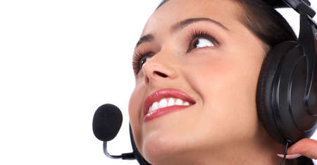 Beautiful  business woman with headset. Call center. Stock Photo - 2775395