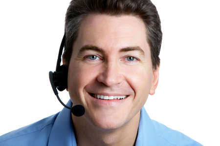 Smiling  businessman  with headset. Over white background Stock Photo - 2775409