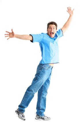 ni�o saltando: Feliz el hombre sonriente. Aisladas m�s de fondo blanco