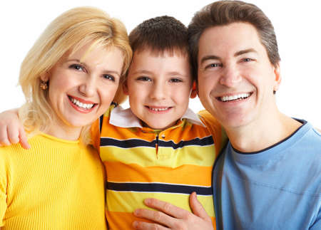Happy family. Father, mother and boy over white