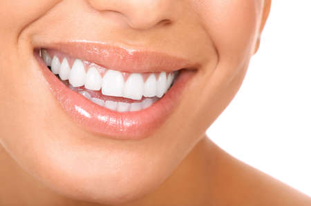 girl teeth: Smiling woman mouth with great teeth. Over white background