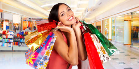 beauty shop: Shopping smile woman in the mall