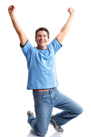 Funny happy man. Isolated over white background  photo