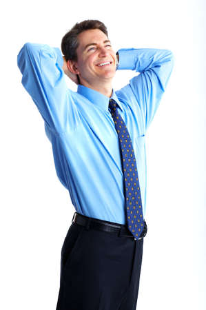 Smiling businessman. Isolated over white background  photo
