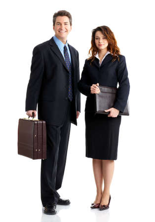 Young smiling  business woman and business man  photo