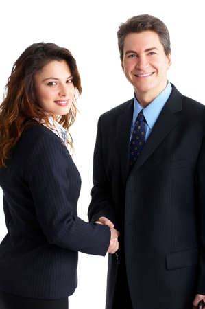 Young smiling  business woman and business man Stock Photo - 2775525