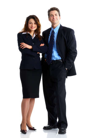 men and women: Young smiling  business woman and business man
