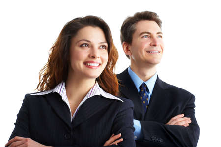 Young smiling  business woman and business man Stock Photo - 2775447