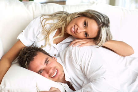 Young love couple resting  in the comfortable apartmentr photo
