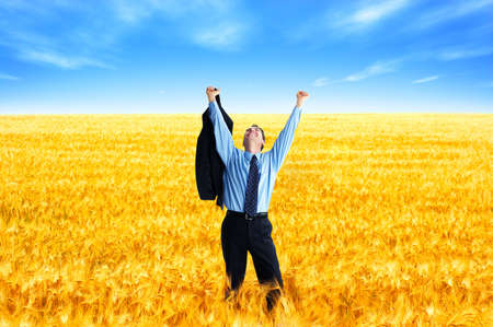 agronomist: Free successful  businessman in the field under blue sky