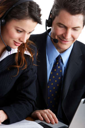 teleconference: business people working with laptop. Over white background