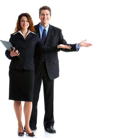 business case: Jonge vrouw lachend business en business man Stockfoto