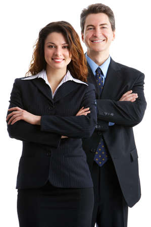 Young smiling  business woman and business man Stock Photo - 2776317