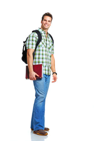 Young smiling  student with books. Over white background  photo